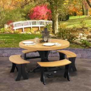 4 round table set with benches cedar black on patio