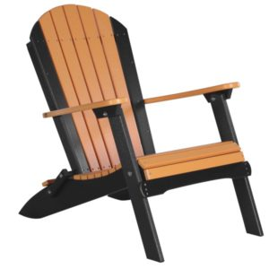 luxcraft poly folding adirondack chair tangerine black