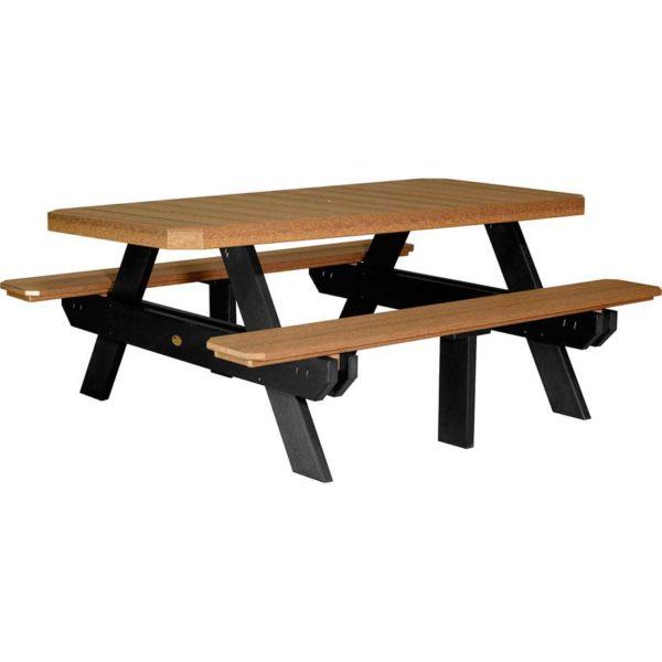 6 ft rectangular picnic table antique mahogany black